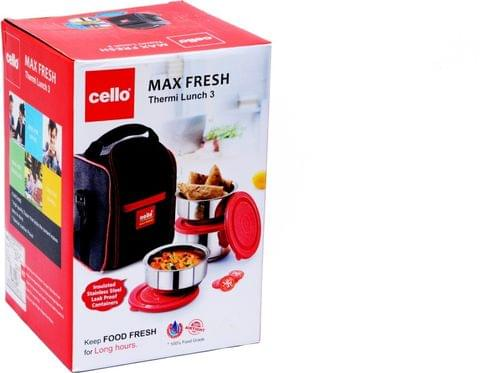 Cello Max Fresh Thermi Stainless Steel Lunch Box Set with Bag, 3-Pieces, Red A104(Red)