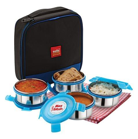 Cello Max Fresh Supremo Stainless Steel Lunch Box Set, 300ml, Set of 4, Blue A105
