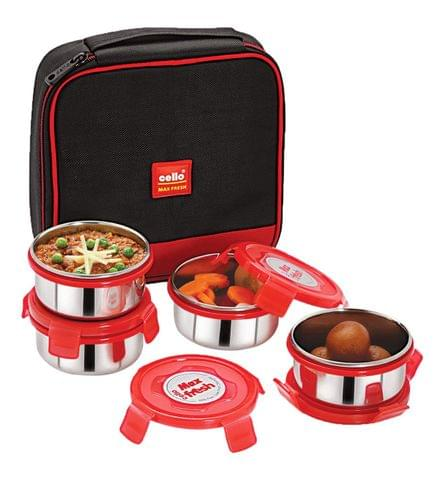 Cello Max Fresh Supremo Stainless Steel Lunch Box Set, 300ml, Set of 4, Red A105(Red)