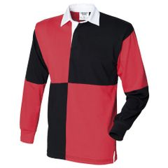Front Row Herren Rugby Polo-Shirt Quarter, Langarm