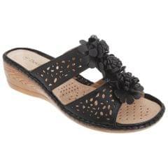 Boulevard Damen Sandalen mit Keilabsatz, Lochmuster, Blumenapplikationen