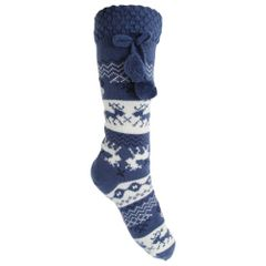 Damen Winter Thermo-Strümpfe mit weihnachtlichem Norweger-Muster, Anti-Rutsch-Sohle