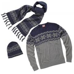 Christmas Shop Herren traditioneller Winter Pullover, Mütze & Schal Set