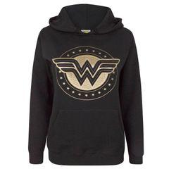 Damen Kapuzenpullover mit Wonder-Woman-Folienlogo