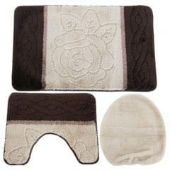 3 Piece Flower Pattern Design Bath, Pedestal & Toilet Seat Cover Bathroom Mat Se