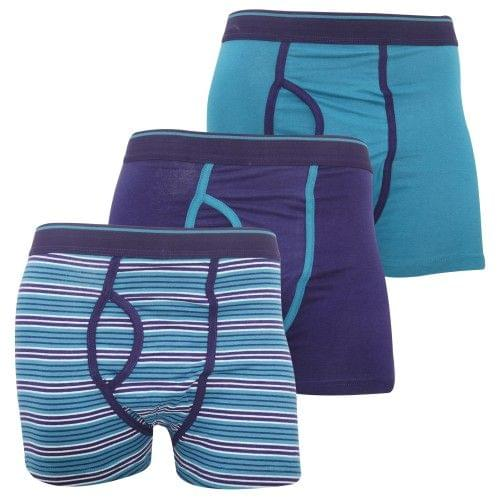 FLOSO Mens Cotton Mix Key Hole Trunks Underwear (Pack Of 3)