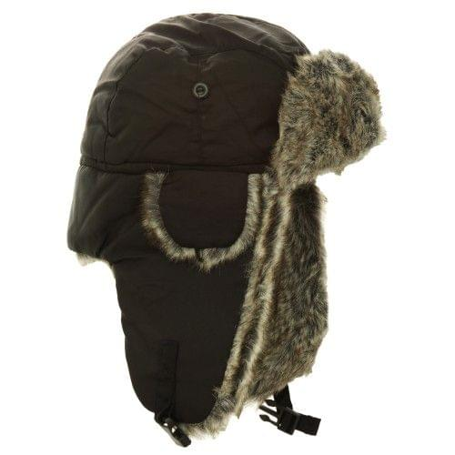 FLOSO Mens Faux Fur Lined Showerproof Thermal Trapper Hat