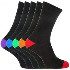 FLOSO Mens Black Cotton Rich Heel And Toe Socks (Pack Of 5)