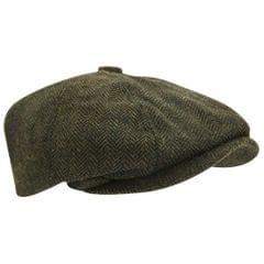 Mens Wool Blend Herringbone 8 Panel Newsboy Cap