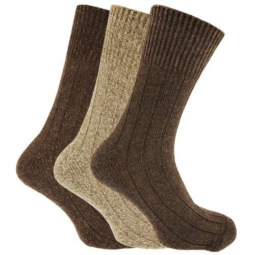 Mens Non Elastic Chunky Wool Boot Socks (Pack Of 3)