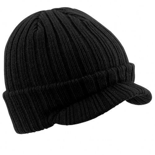 Beechfield Unisex Plain Peaked Winter Beanie Hat