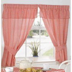 Molly Gingham Check Pattern Ready Made Curtains With Valance Top
