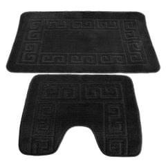 2 Piece Greek Key Pattern Bath Mat And Pedestal Mat Set