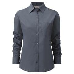 Russell Collection Ladies/Womens Long Sleeve Poly-cotton Easy Care Poplin Shirt