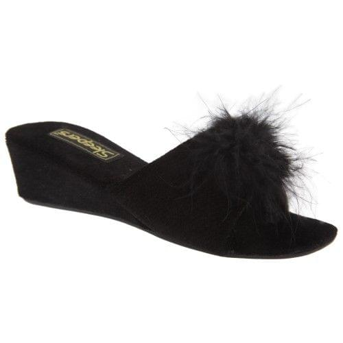 Sleepers Womens/Ladies Anne Jewelled Rosette Boa Mule Slippers