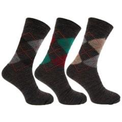 Mens Traditional Argyle Pattern Lambs Wool Blend Socks With Lycra (Pack Of 3)