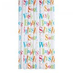 Waterline Splash Text Shower Curtain With Rail Rings