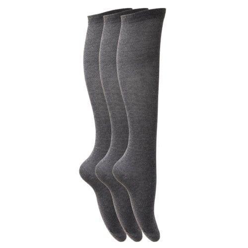 Childrens Girls Plain Knee High School Socks (Pack Of 3)