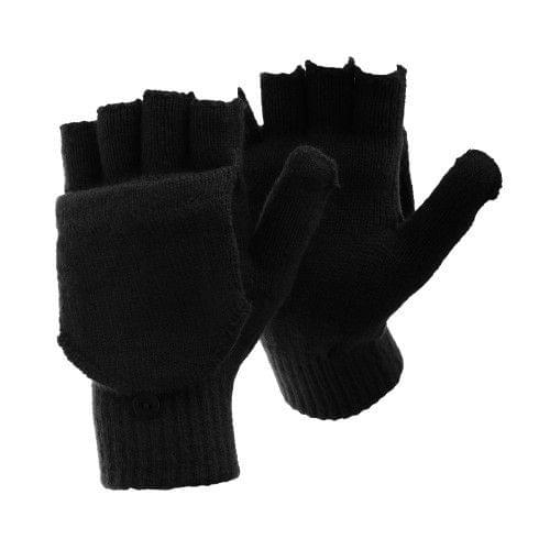 FLOSO Mens Plain Thermal Winter Capped Fingerless Gloves