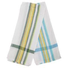 Stripe Border Waffle Texture Tea Towel/Dish Towel Set (Pack Of 2)