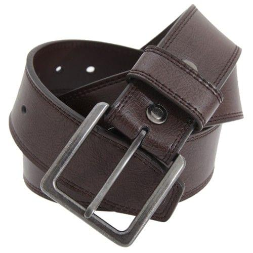 FLOSO Mens 1.5 Inch Black/Brown Leather Lined Belt