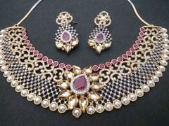 Beautiful American Diamond + Precious Stone necklace+Pearl+Kundan Stone- 1 year warranty