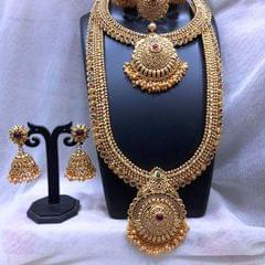 Gold plated Bridal Necklace set with beautiful pair of Jhumka- with an year warranty