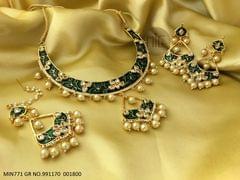 Buy this beautiful meenakari worked Necklace set, with beautiful air of jhumka and mangtika