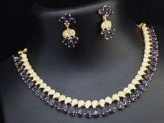 Blue American Diamond Necklace set with beautiful pair of earrings