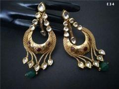 Brass + Gold Plated Earrings with an year warranty