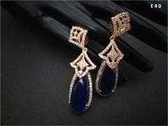 Precious Blue Stone+ American Diamond Dangler with an year warranty
