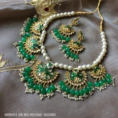 High class Minakari Worked Kundan Necklace studded with semi precious stones.It is coupled with pair of beautiful jhumki.