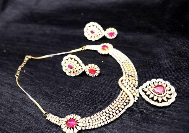 American Diamond Necklace set with pair of earrings
