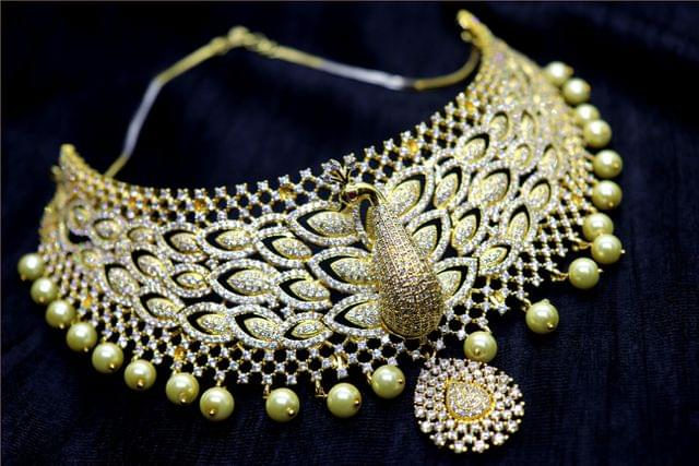 Awesome American Diamond Necklace with beautiful pair of American Diamond Earrings