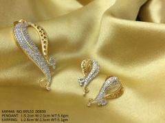 American Diamond Pendant Set with pair of beautiful American Diamond Earrings