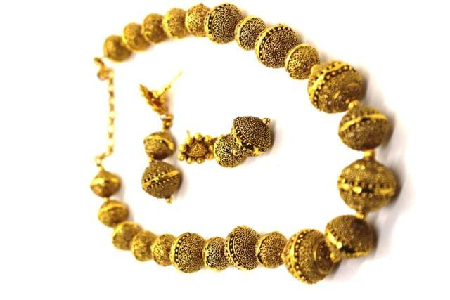 Beautiful Brass+ Gold Plated Necklace set with beautiful pair of Jhumka