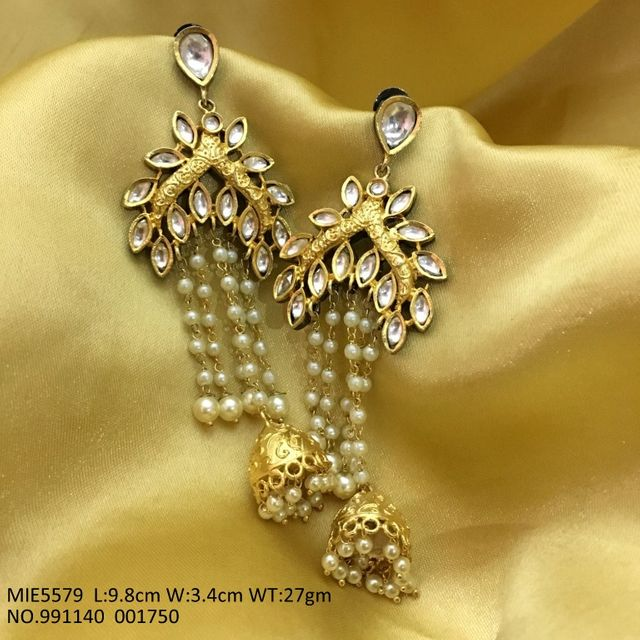 Kundan Stones Studded + gold plated Dangler with an year warranty