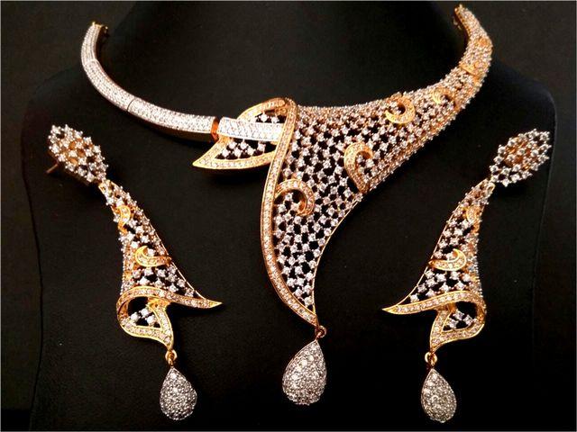 American Diamond Necklace set with pair of Beautiful American Diamond Earrings