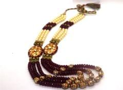 Meenakari worked Necklace set studded with precious stones ,Kundan Necklaces and with fresh water pearl chain - 1 year warranty