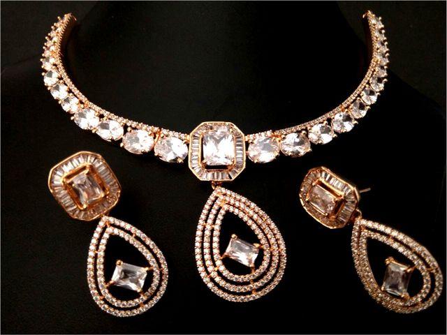 American Diamond Necklace set wit beautiful pair of American Diamond Danglers- 1 year warranty