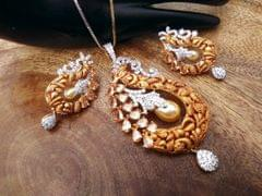 American Diamond Pendant set with beautiful pair of earrings