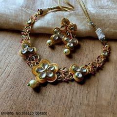 Brass+ Gold Plated Necklace set studded with pearl and Kundan Stones - 1 year warranty