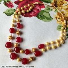 High quality Stones + Pearl chain Necklace with 2 years Warranty