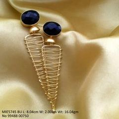 Brass+ Semi Precious Stone Dangler with an year warranty -  Blue Stoned
