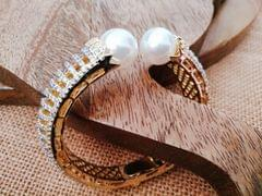 American Diamond Kada studded with fresh water pearl