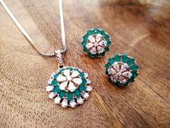 Buy this beautiful American Diamond Pendant Set with warranty