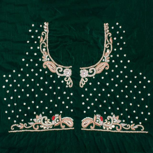 Florals-of-paisley blouse set/Back-open-blouse/Green-Zardosi-blouse