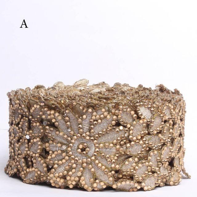Queenly style hip-floral lace/Border-lace/Cut-out-lace/Zari-thread-lace