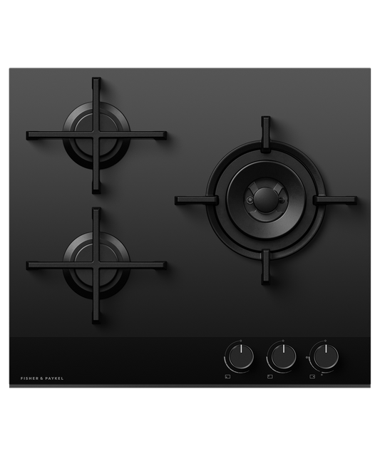 60cm 3 Burner Gas on Glass Cooktop w/ Wok NG - Black