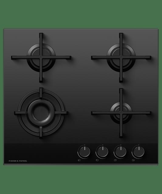 60cm 4 Burner Gas on Glass Cooktop LPG - Black